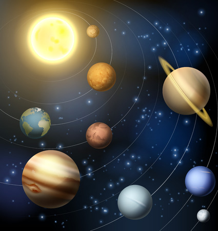 An illustration of the planets orbiting the sun in the solar system including the dwarf planet Pluto