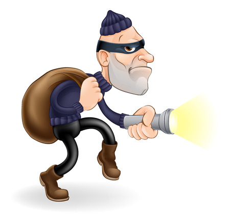 An illustration of a thief or burglar cartoon character with torch and sack Vectores
