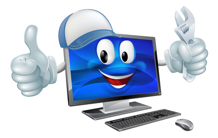 A cartoon computer repair mascot with a cap and spanner doing a thumbs up Vectores