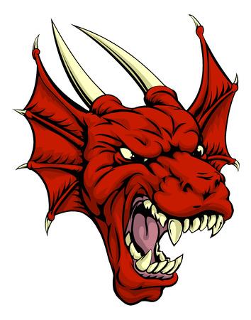 A la recherche caractère bien trempé dragon rouge de mascotte, pourrait être un dragon ou la mascotte sportive Welsh Banque d'images - 32142994
