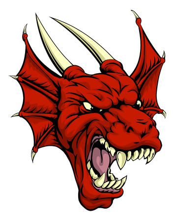 A tough looking red dragon mascot character, could be a Welsh dragon or sports mascot