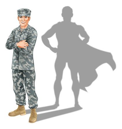 군인 개념. 슈퍼 히어로의 형태로 자신의 그림자와 함께 서있는 군사 군인의 개념적 그림 일러스트