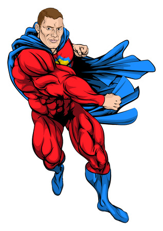 A cartoon illustration of a dynamic punching superhero in cape