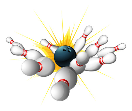 An illustration of a bowling ball getting a strike with bowling pins sent flying