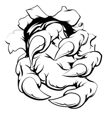 Une griffe de monstre percer détruisant le mur ou en métal ou papier de fond