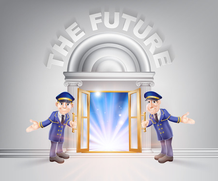 The future concept of a doormen hoding open a door to the future with light streaming through it.