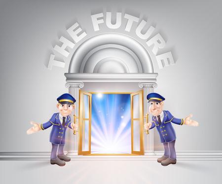 El concepto de futuro de unos porteros Hoding abierto una puerta hacia el futuro con la luz a través de él.