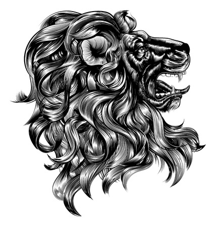 An original illustration of a lion in a vintage woodblock style Ilustração