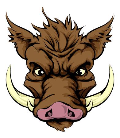 Een illustratie van een felle zwijn dier karakter of sport mascotte