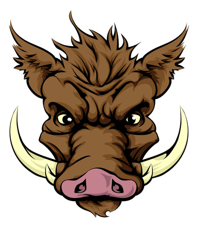 An illustration of a fierce boar animal character or sports mascot Illustration
