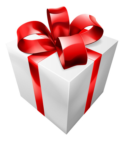 Une illustration d'un cadeau rouge et blanc avec un ruban et grand arc
