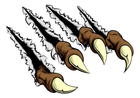 Des griffes de monstre se brisent en déchirant, déchirant et grattant le mur ou le fond en métal ou en papier