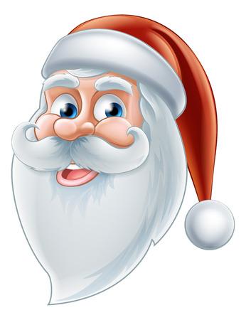 An illustration of a Christmas cartoon happy Santa face