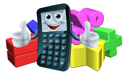 An illustration of a calculator man cartoon charter giving a thumbs up and math symbols