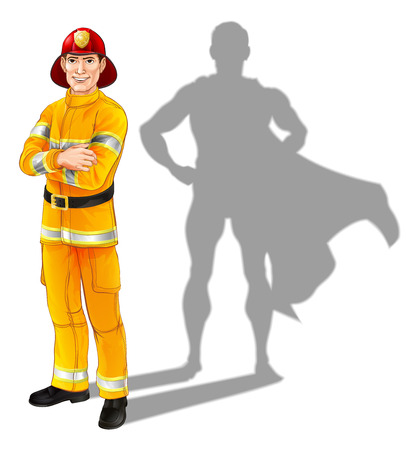 Hero fireman concept, illustration of a confident handsome firefighter or fire officer standing with his arms folded with superhero shadow