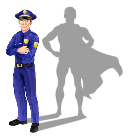 Hero policeman concept, illustration of a confident handsome policeman or police officer standing with his arms folded with superhero shadow Vettoriali