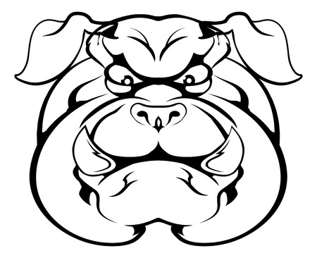 An illustration of a cartoon tough bulldog character face