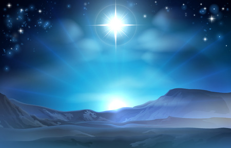Christmas Nativity Star of Bethlehem illustration of the star over the desert pointing the way to Jesus birth place
