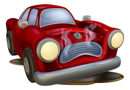 A wrecked cartoon car needing fixing by a mechanic or automotive garage