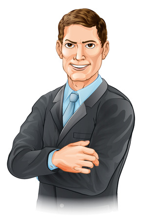 A happy handsome businessman character with his arms folded