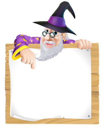 Wizard sign illustration, a cartoon wizard character pointing at a sign with copy-space Vectores