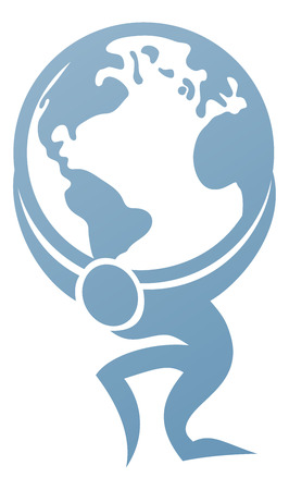 Conceptual strength icon of Atlas holding the globe on his back