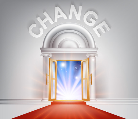 Change door concept of a fantastic white marble door with columns and a red carpet with light streaming through it.
