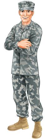 Un soldado de camuflaje de pie vistiendo uniforme de combate con los brazos cruzados Ilustración de vector