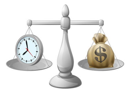 Time is money business concept with a clock on one side and a money bag on the other. Could also be a concept for work life balance