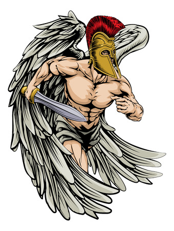 An illustration of a warrior angel character or sports mascot with big wings  in a trojan or Spartan style helmet holding a sword