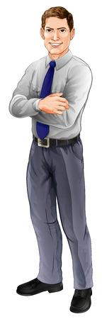 Een knappe man die met armen gevouwen het dragen van een overhemd en stropdas Vector Illustratie