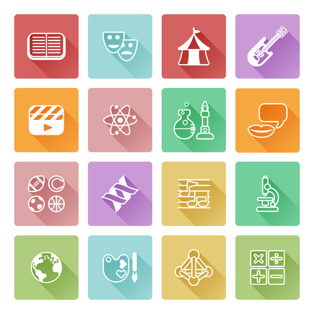 Quiz or academic education subject or category icons covering math, sports, music, science, history and lots more Illustration