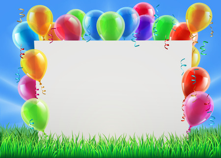 An illustration of a sign surrounded by party balloons in a field on a bright spring or summer day Illustration