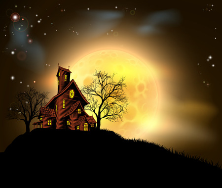 Een Halloween spookhuis illustratie met een griezelig huis op een heuvel met een grote volle maan op de achtergrond Vector Illustratie
