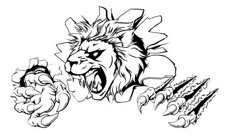 Een leeuw sport mascotte of karakter doorbreken van de achtergrond of muur