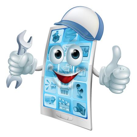 Phone Reparatur Zeichentrickfigur in Kappe mit Schlüssel tut einen Daumen nach oben