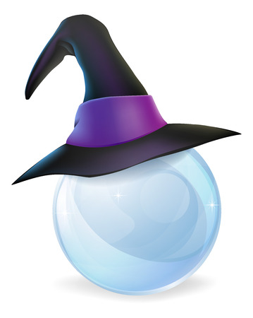 A cartoon witch hat on a crystal ball with copy space on the crystal ball.
