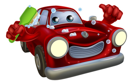 Cartoon car wash mascot man with a happy face giving a thumbs up and scrubbing himself clean with a brush covered in soap suds Illustration