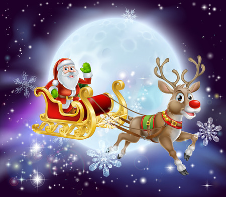 Christmas cartoon illustration of Santa clause in his sleigh or sled flying in front of a big full moon Ilustração