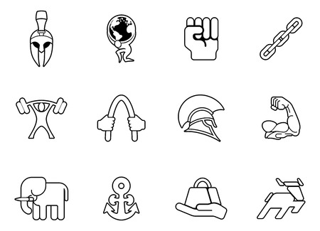 Strength concept icon set of icons relating to the concept of strength or being strong Illustration