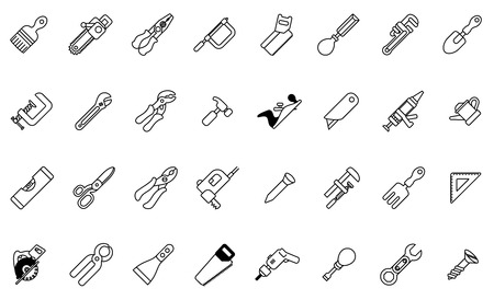 A tool icon set with lots of construction or DIY tools including level, saw and many others Vectores