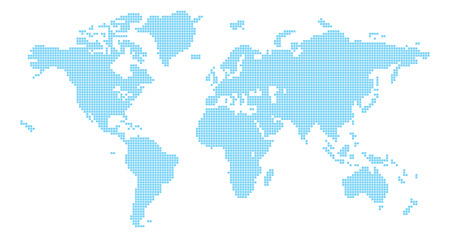Squares world map illustration of world map made up of square shapes