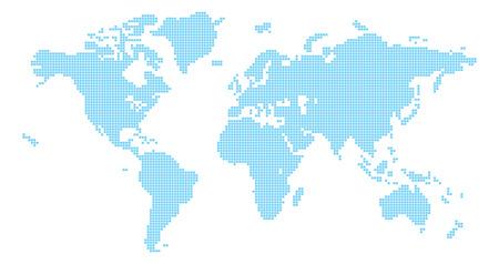 Pleinen wereld kaart illustratie van de wereld kaart gemaakt van vierkante vormen