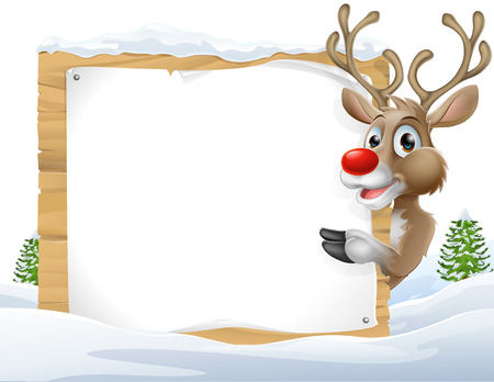 Reno de la historieta Señal de Navidad de una historieta linda del reno de Navidad mirando alrededor de una muestra de nieve y apuntando Ilustración de vector