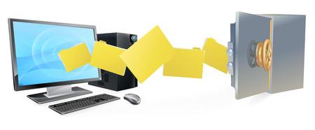 コンピューター コンピューターから安全に移動ファイルの安全なセキュアな転送バックアップの概念。