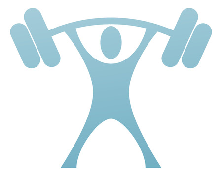 A weight lifter icon of a strong stylised man lifting a heavy weight Vectores
