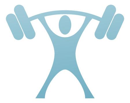 Un icono de levantador de pesas de un hombre estilizado fuerte que levantar un peso pesado Foto de archivo - 33869131