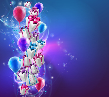 Abstracte geschenken en ballonnen viering achtergrond met verpakte cadeautjes en ballonnen op een abstracte achtergrond. Groot voor Kerstmis, verjaardagen of andere feesten.