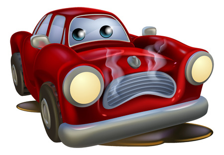 A sad broken down cartoon car character in need of repair 矢量图像