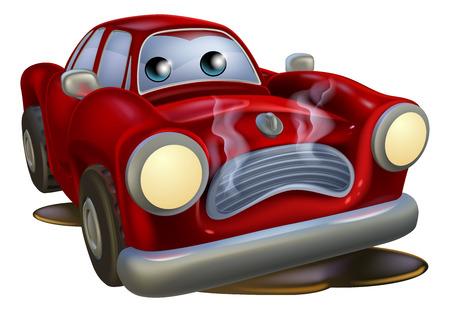 A sad broken down cartoon car character in need of repair Stock Illustratie